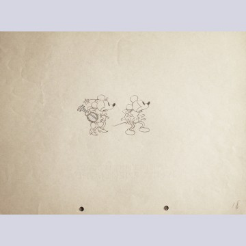 Original Walt Disney Production Drawing of Mickey Mouse and Minnie Mouse from Camping Out (1934)