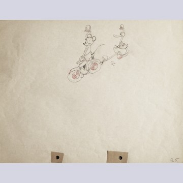 Original Walt Disney Production Drawing of Mickey Mouse and Donald Duck from The Dognapper (1934)