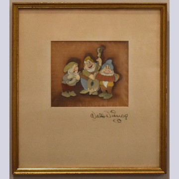 Original Walt Disney Production Cel on Courvoisier Background from Snow White and the Seven Dwarfs, Signed by Walt Disney