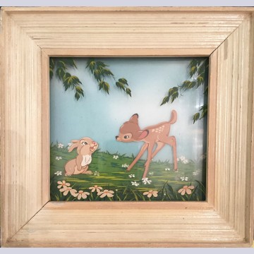 "Original Walt Disney Multiplane Painting ""Bambi and Thumper No. 5"" featuring Thumper and Bambi"