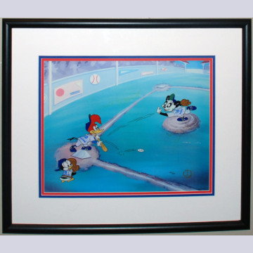 Original Walter Lantz Studios Limited Edition Sericel, Pinstripes Heroes, Signed by Phil Rizzuto, Whitey Ford, Yogi Berra