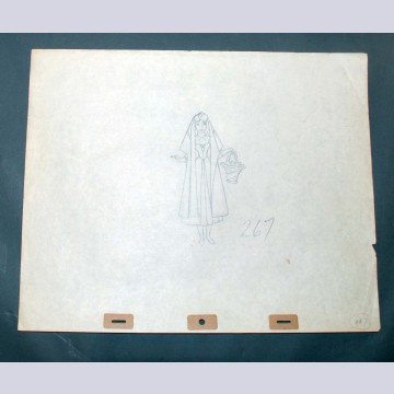 Original Walt Disney Production Drawing from Sleeping Beauty featuring Briar Rose