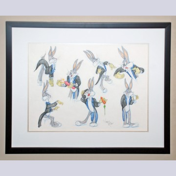 Original Warner Brothers Model Drawing featuring Bugs Bunny