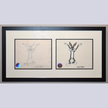 Original Warner Brothers Production Cel and Production Drawing featuring Bugs Bunny