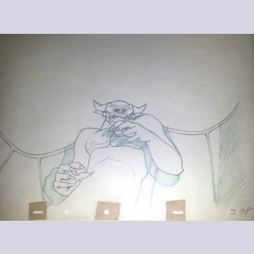 Original Disney Production Drawing Featuring Chernabog from Fantasia