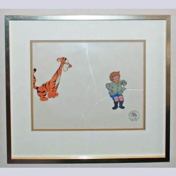 Original Walt Disney Production Cel from Winnie the Pooh and Tigger Too featuring Christopher Robin and Tigger