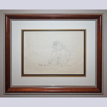 Original Walt Disney Cinderella Production Drawing featuring Cinderella and Prince Charming, Signed by Frank Thomas and Ollie Johnston