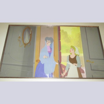 Original Walt Disney Production Cel on Production Background Featuring Cinderella and Evil Stepmother