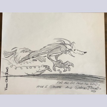 Original Signed Chuck Jones Pencil Drawing of Wile E. Coyote
