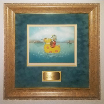 Original Walt Disney Production Cel on Courvoisier Background from Beach Picnic (1939) featuring Donald Duck