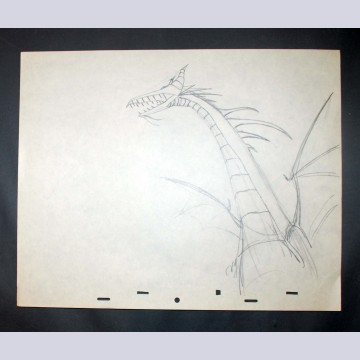 Original Walt Disney Production Drawing from Sleeping Beauty featuring Dragon Maleficent