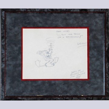 Original Warner Brothers layout Drawing by Charles McKimson featuring Daffy Duck