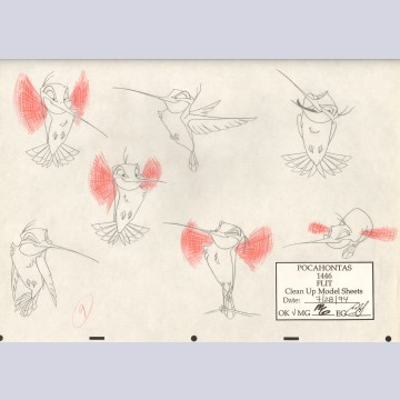 Original Walt Disney Clean-up Model Sheet from Pocahontas featuring Flit