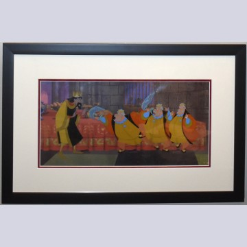 Original Disney Four Production Cels on Color Copy Background from Sleeping Beauty featuring King Stefan and King Hubert