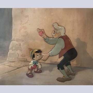 Original Walt Disney Key Production Cels Setup on matching Production Background featuring Pinocchio and Geppetto