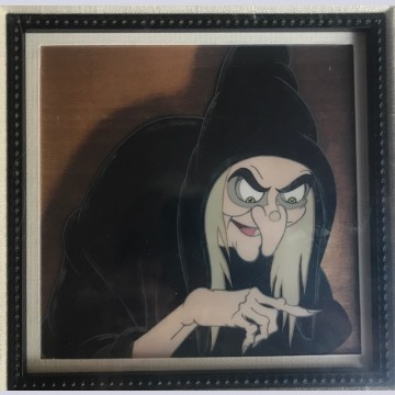 Walt Disney Production Cel on Courvoisier Background featuring The Old Witch