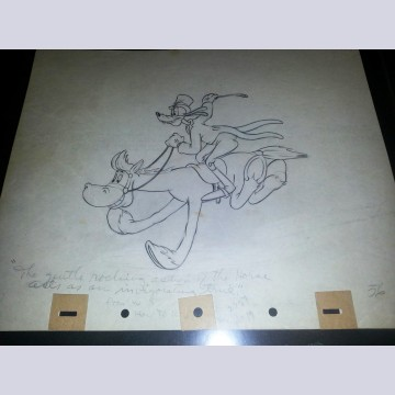 Original Walt Disney Production Drawing from How to Ride featuring Goofy