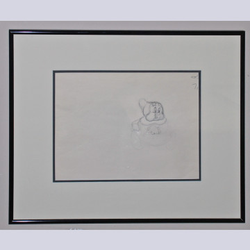 Original Walt Disney Production Drawing featuring Happy from Snow White and the Seven Dwarfs