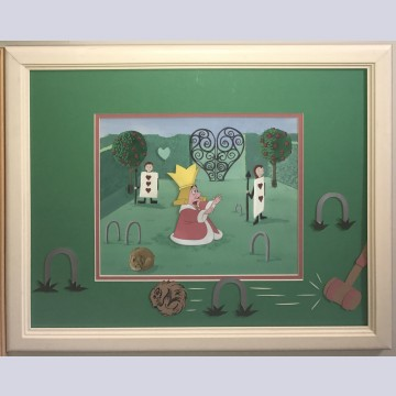 Original Walt Disney Alice in Wonderland Production Cel on Custom Background and Mat Featuring the King of Hearts