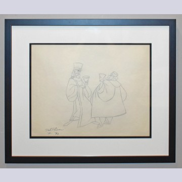 Original Walt Disney Production Drawing from Sleeping Beauty featuring King Stefan and King Hubert, Signed by Dale Oliver