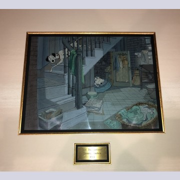 Original Walt Disney Key Master 5 Production Cel on Production Background from 101 Dalmatians featuring Pongo and Perdita
