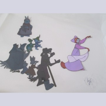Original Disney Production Cels from Robin Hood featuring Maid Marian, Otto, Sis, Tagalong, Lady Kluck, Toby Turtle, Skippy, and Mother Rabbit