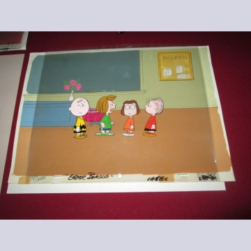 Original Peanuts Production Cel on Production Background featuring Charlie Brown, Peppermint Patty, Marcie, and Linus