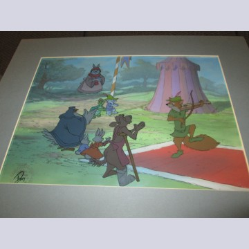 Original Disney Production Cel on Production Background from Robin Hood featuring Robin Hood, Otto, Sis, Tagalong, Lady Kluck, Toby Turtle, Skippy, and Mother Rabbit