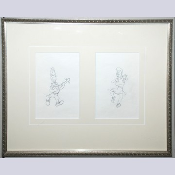 Two Original Walt Disney Production Drawings from Mother Goose Goes Hollywood (1938) featuring Joe E. Brown and Martha Raye