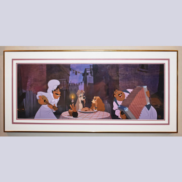 Original Walt Disney Lady and the Tramp Limited Edition Cel, Prelude to a Kiss