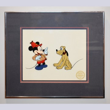 "Original Walt Disney Sericel ""The Pointer Art"" featuring Mickey Mouse and Pluto"