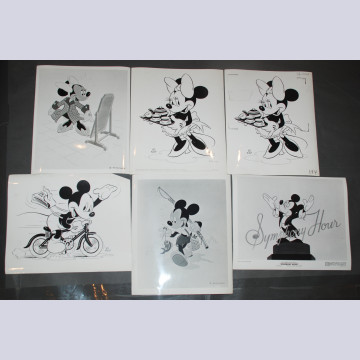 Original Walt Disney Set of 6 Black and White Stills Mickey and Minnie Mouse