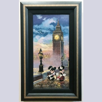 Original Walt Disney James Coleman Acrylic Painting on Canvas featuring Mickey and Minnie signed
