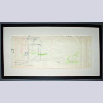 Original Warner Brothers Maurice Noble Layout Drawing Featuring Wile E. Coyote