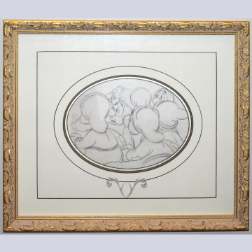 Original Walt Disney Production Drawing from Snow White and the Seven Dwarfs Featuring the Seven Dwarfs