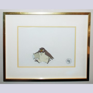 Original Walt Disney Production Cel from The Many Adventures of Winnie the Pooh featuring Owl