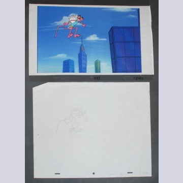 Original Pink Panther 2 Production Cel Set Up on Color Copy Background with matching Production Drawing featuring The Pink Panther