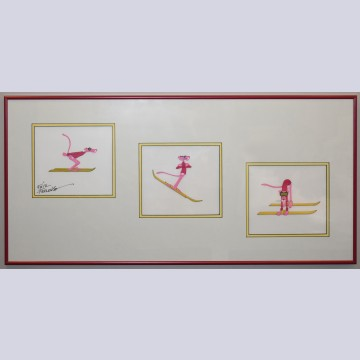 Three Original Pink Panther Production Cels with Matching Production Drawing, Signed by Friz Freleng