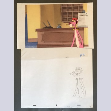 Original Pink Panther Production Cel on Color Copy Background with matching Production Drawing featuring The Pink Panther