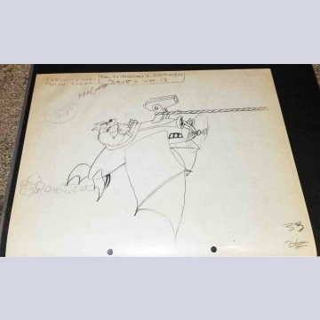 Original Walt Disney Production Drawing From Mail Pilot (1933)