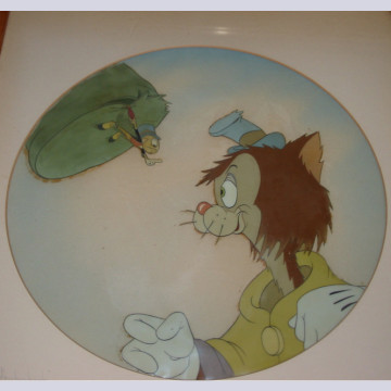 Original Walt Disney Production Cel From Pinocchio on Courvoisier background featuring Jiminy and Gideon