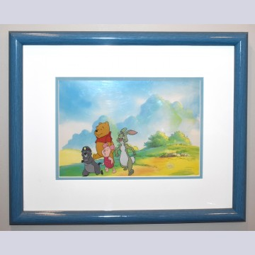 Original Walt Disney Television Production Cel from The New Adventures of Winnie the Pooh featuring Gopher, Piglet, Winnie the Pooh and Rabbit