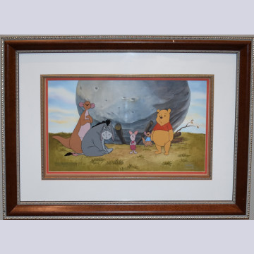 Original Walt Disney Winnie the Pooh Production Cel on Production Background with Matching Cleanup Drawings from The Tigger Movie