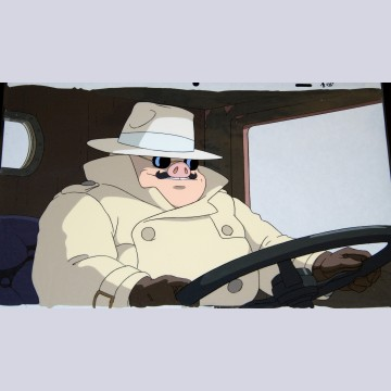 Original Studio Ghibli Production Cel from Porco Rosso (1992) featuring Porco Rosso