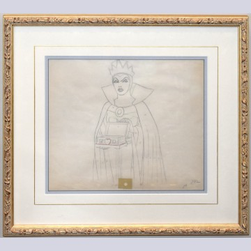 Original Walt Disney Production Drawing from Snow White and the Seven Dwarfs Featuring The Evil Queen