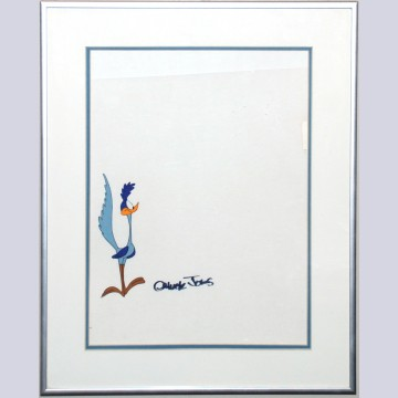 Original Warner Brothers Production Cel of Roadrunner, Signed by Chuck Jones