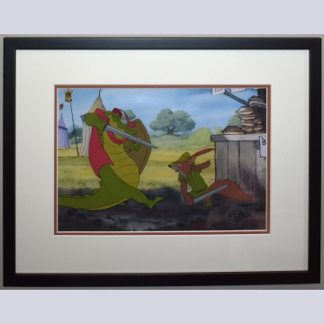 Original Disney Production Cel from Robin Hood featuring Captain Crocodile and Robin Hood