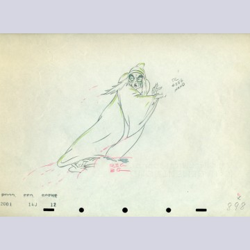 Original Walt Disney Production Drawing From Snow White featuring the Wicked Witch