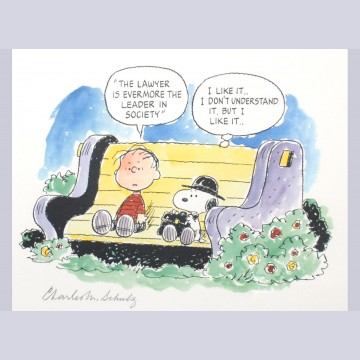 Charles Schulz Signed Lithograph, Society's Leader