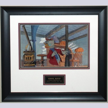 Original Walt Disney Production Cel from Mickey's Christmas Carol featuring Scrooge McDuck, Signed by Carl Barks